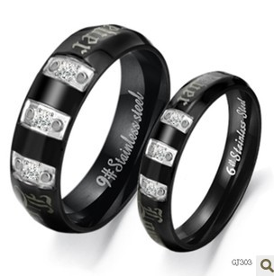 Crystal inlay stainless steel couple rings Black Color Smooth Surface Perfect Technology Free Shipping 303(China (Mainland))
