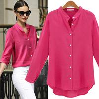 Cotton Linen Shirt Blouse Autumn New Women Blouses White/rose/Denim Blue Long-sleeved Female Shirts
