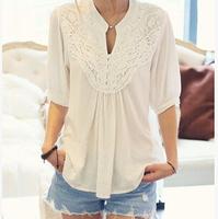 2014 New  Summer  Women's Half-sleeve Crochet Shirt Ladies Plus szie  Blouse camisas femininas