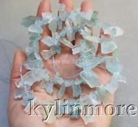 Natural Aquamarine Rough 10x18mm Top drilled Beads