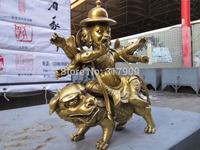 9 Tibetan Buddhism Brass Copper Art Statue of Kubera Dharmapala