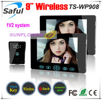 Wireless 9inch video door phones With Tamper alarm function strongest wireless signal touch key (2 LCDs+1 outdoor unit)