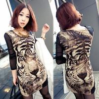 2014 New Summer Dress OL Elegant Career Dress Women Work Wear Sexy Leopard Printed Dress Mini Bodycon Casual Dress