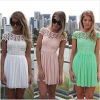 2014  Fashion Summer Lace Crochet Pleated Chiffon Dress Women Mint Green Lace Cute sexy backless Dress 4 Color XS-2XL HHY8012LMX
