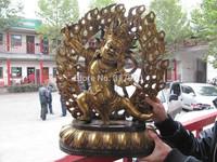 Tibet Buddhism Folk temple Bronze Gild Vajrapani Mahakala Buddha Statue