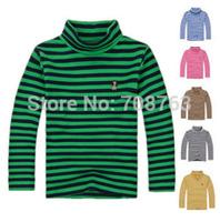 5pcs/lot, Autumn Winter Long Sleeves Stripes Color Sweatshirts Turtleneck Tees For 8-16 Year Teenager Boys Girls , J288