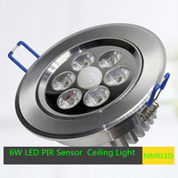 6W LED PIR Sensor Automatic Recessed Ceiling Light Double Lighting AC 85-265V