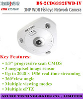 Hikvision DS-2CD6332FWD-IV 3MP outdoor HD 1080P WDR Fisheye Network mini Camera 360 degrees view angle IP66 IK10 vandal proof