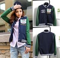 Free Shipping Women's fashion jackets letter baseball shirt baseball uniform jacket