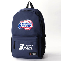 Free shipping basketball Clippers Chris Paul Paul canvas bag sports bag backpack schoolbag travel bag computer bag DIY made