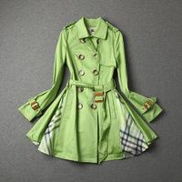 2014 News High quality Fashion green long coat Trench winter coat women