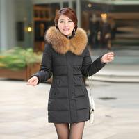 New 2014 Jacket Women Winter Coat Thicken Slim Female Raccoon Fur Collar And Long Coat Women Parka Winter Coat Plus Size S-3XL