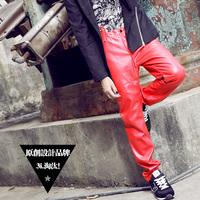 Original design red  men's rivet motorcycle leather pants high waist men's trousers