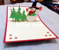 Novelty 3D Snowman Christmas Cards/ Pop up cards Custom Cubic Greeting cards /Party invitation 100pcs/lot Free shipping