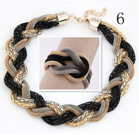 New Arrival Golden Metal Chain Weave Statement Necklace And Bracelet Sets Fashion Women Sets Accessories