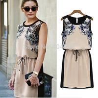 2014 Summer Print Dresses Fashion Female Vestidos Chiffon Casual Dress Women Sleeveless Knee Length Vintage Girls SV000618 b014