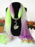 Popular fashion accessories scarf metal jewelry peacock pendant scarf cape hemp gradient color scarf