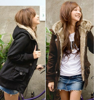2014 autumn and winter women fashion long-sleeve hooded zipper fur collar outerwear wadded jacket