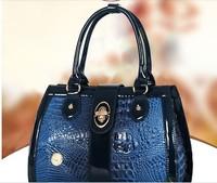 2014 new retro bright skin shell patent leather crocodile pattern handbag bag handbag