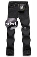 2014 Fashion Designer Brand Mens Jeans Denim Pants Trousers Winter Velvet Wool Warm For Cotton Ripped Skinny Snow Autumn