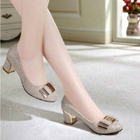 2014 autumn gold thick heel round toe bow in with the single shoes female shoes