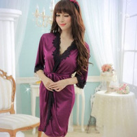 Plus size large sleepwear for women, purple bathrobe use lace and stain,hot crotchless lingerie set hot sales nightgown/robe
