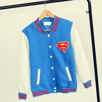 2014 New Sweatshirt Women Sport Suit For Unisex Fashion Letters Printed Hoodies supermen Baseball Cardigans Coat S-XL