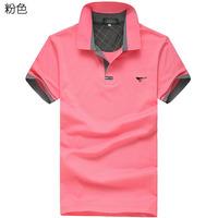 2014 summer short-sleeved T-shirt men's short sleeve shirt embroidered top fashion solid color T-shirt shirt lapel