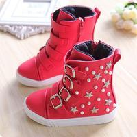 2014 winter boots for girls plus velvet stars  Foot length 15.5 ~ 18.5cm