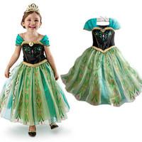 Christmas dress 2014 baby girl dress green color embroidery ANNA frozen dress Princess dress