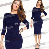 Freeship Top Quality 5T5120 S M,L XL,XXL 2014 New Women Winter Bodycon Dress Pleated Brand Fashion Lady Pencil Dress Party Dress