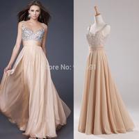Sexy Spaghetti Straples Long Prom Dresses 2014 vestido de festa longo Champagne Colored Evening Gowns