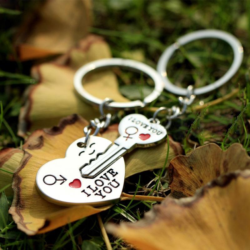 2014 Hot Sale Zinc Alloy Silver Plated Lovers Gift Couple I Love You Heart Keychain Fashion Keyring Key Fob Creative Key Chain(China (Mainland))