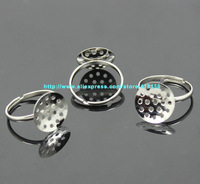 Wholesale 50pcs Silver Plated Adjustable Curved Hollow Ring Base Blanks Glue On