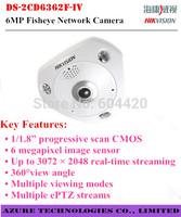 "Hikvision DS-2CD6362F-IV 6MP 1/1.8"" CMOS  Fisheye Network mini Camera 360 degrees view angle 15m IR ePTZ IP66 IK10 Vandal-proof"