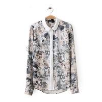 2014 new fashion women fashion ink big floral printed Doll brought blouse Girl elegant OL long sleeve shirt #J422