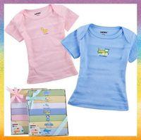 [Baby T-shirt]Free Shipping 7 pcs/lot B1020 Newborn baby short sleeve T-shirt week T-shirt gift box