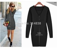 2014 Winter new sections fat mm thin big yards long sleeve zip cardigan dress 1235 #