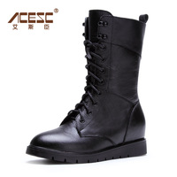 Genuine leather martin boots female 2014 autumn and winter first layer of cowhide medium-leg boots fashion flat boots