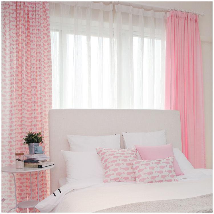 Korean-small-fresh-cloth-curtains-living-room-bedroom-whale-cartoon ...