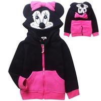 2014 New Winter Girls Hoodies Character Minnie Hooded Girls Coat Outerwear Kids Hoodies 5 pcs / lot 6449