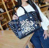 High quality luxury fashion rivet letters smiley lady handbag  shoulder bag cross body messenger bag free shipping 4 colors