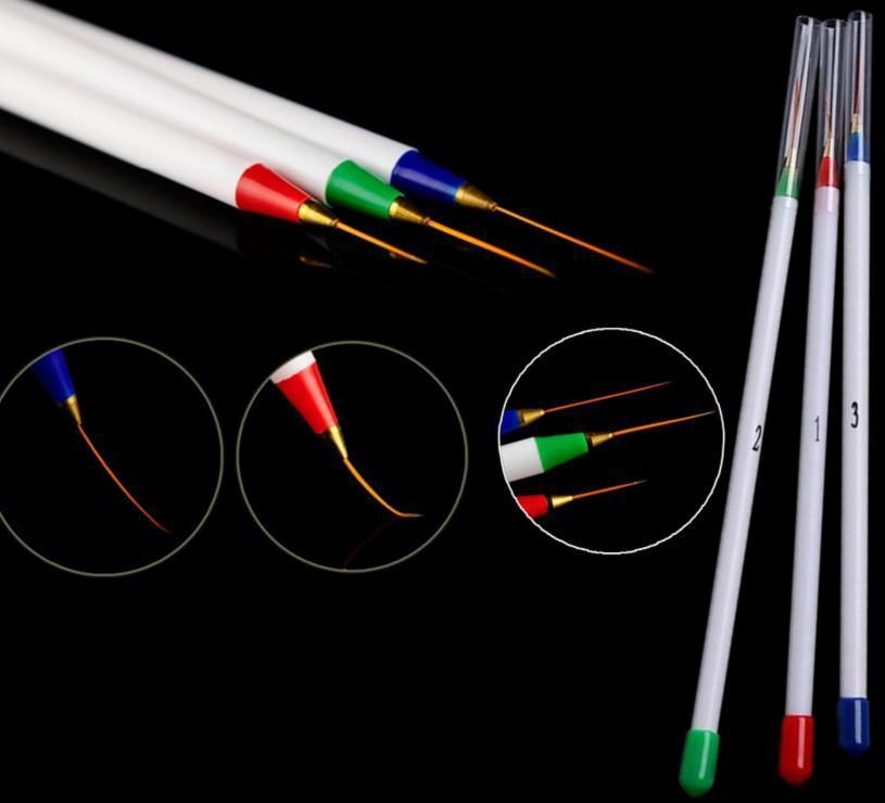 New 2015 3pcs Nail Art Design DIY Acrylic Draw Painting Striping UV Gel Pen Brush Set HOS(China (Mainland))