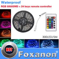 Foxanon Brand Strip 5050 Epistar SMD RGB Led Strip 60LED/M 300LED Lamps DC12V Waterproof 24key controller flexible light 5M/Roll