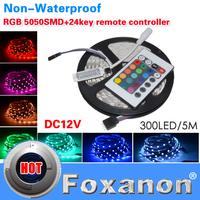 Foxanon Brand 5050 RGB Led Strip Epistar Chip Lamps DC12V 60LED/M 300LED Non-Waterproof 24key controller flexible light 5M/Roll