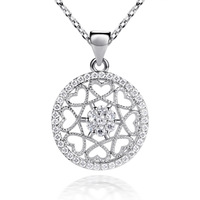 LB-0075,925 sterling silver-plated jewelry pendant necklace pentagram coupon with zircon or crystal nickel free