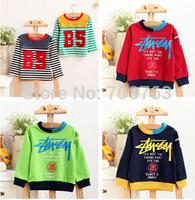 5pcs/lot, Children Kids Clothing Full-Sleeve O-neck T-shirt Tees For 2-7 Year Boys Girls , J291