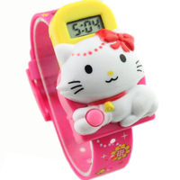 5pcs/lot PU Leather Q version  cartoon cute Hello Kitty KT cat Watch For children carton watch best gift for kids W6