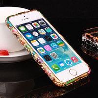 2014 Fashion Set auger Swarovski diamond bumper for iphone 5 & 5s luxury metal bumper phone case Free Tempered Glass Membrane