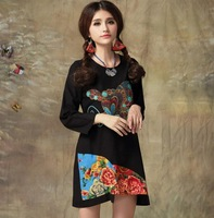 Newest autumn vintage embroidery butterfly pattern round neck long sleeve women's loose cotton dress E00019